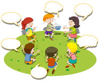 Children sit in circle and play game Royalty Free Stock Images