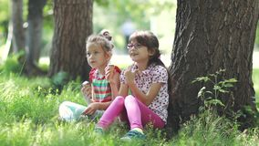 Children sit on the grass in the summer Park and talk. two little girls eating ice cream and enjoying a summer day. Carefree children eat ice cream in summer stock footage