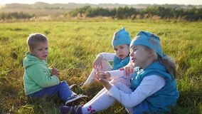 The children sit on the lawn in the park. Laugh and smile. Children`s holiday in the open air. The children sit on the lawn in the park. Children`s holiday in stock video