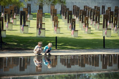 Children at site of the Oklahoma City Bombing stock image