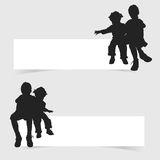 Children siting on white banner set illustration Stock Images