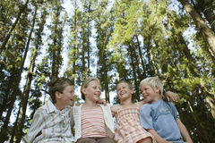 Children Sitting Arm Around In Forest Royalty Free Stock Photo