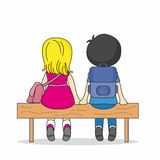 Children sitting on a bench. Illustration of two children sitting on a bench. lovers Stock Photography