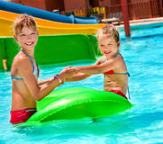 Children sitting on inflatable ring Stock Photography