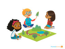 Children Sitting On Floor Explore Toy Landscape, Mountains, Plants And Trees. Playing And Educational Activity In Kindergarten. Pr Stock Image