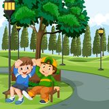 Children sitting on park bench. Illustration vector illustration