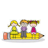 Children sitting on a pencil Stock Photography