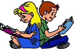 Children are sitting and reading books. Children boy and girl are sitting back to back on the pavement and reading books with smiling face vector illustration