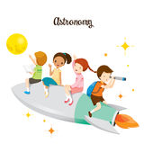 Children Sitting On Rocket, Going To The Moon Royalty Free Stock Image