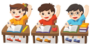Children sitting at school desk in class. Children sitting at school desk and hand up to answer. Pupil raising hand in class Royalty Free Stock Photos