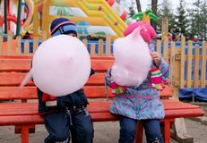 Children sitting on wooden bench and eating cotton candy. In amusement park Stock Image