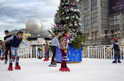 Children skate at Moscow City Day Celebrations Stock Photos