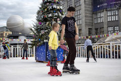 Children skate at Moscow City Day Celebrations Royalty Free Stock Photos