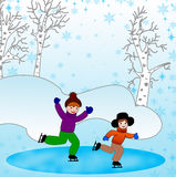 Children skate in a winter day Stock Image