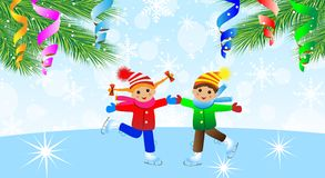 Children on skates and branches of christmas tree Stock Photo