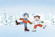 Children skating Stock Photography