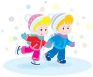 Children skating Royalty Free Stock Photo