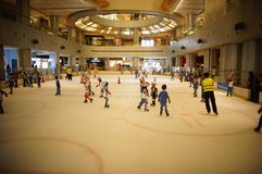 The children are skating rink happy Royalty Free Stock Photo