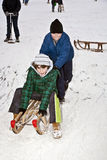 Children are skating at a toboggan Stock Photography