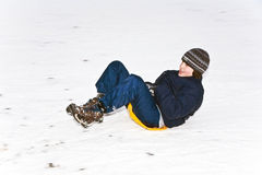 Children are skating at a toboggan Royalty Free Stock Images