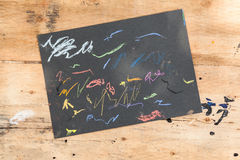 Children sketchpad. On old wood Stock Photos