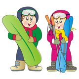 Children and ski Stock Photo