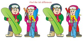 Children and ski-find 10 differences Royalty Free Stock Photo