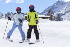 Children on a ski slope Royalty Free Stock Images