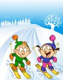 Children ski trip Royalty Free Stock Images