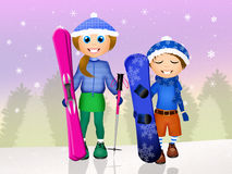 Children skier Stock Images
