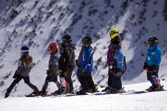 Children skiers. Royalty Free Stock Photo