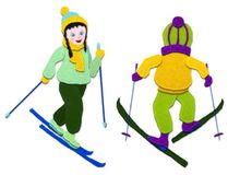Children skiing.Imitation of applique fabric. Isolated on white background. vector illustration