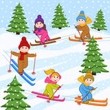 Children skiing on snow mountain Royalty Free Stock Photography