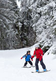 Children skiing Stock Images