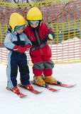 Children skiing Royalty Free Stock Images