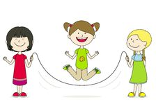 Children in skipping rope Royalty Free Stock Photo