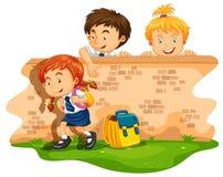 Children skipping school at daytime Royalty Free Stock Image