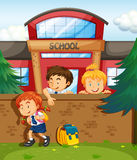 Children skipping from school Stock Photos