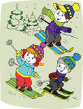 Children by skis Royalty Free Stock Photo