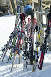 Children skis grouped on a rack Stock Images
