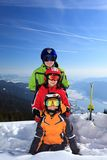 Children with skis on mountain Royalty Free Stock Photography
