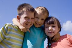 Children on sky stock photography