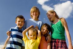 Children on sky Stock Photos