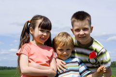 Children on sky Royalty Free Stock Image