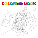 Children on the sled coloring book. Children in a sled ride on a hill coloring book stock illustration