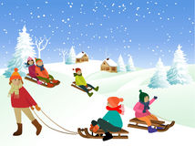 Children on a sled Royalty Free Stock Photography