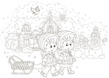Children with a sled on a snowy winter day royalty free illustration