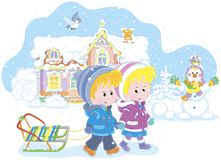 Children with a sled on a snowy winter day stock illustration