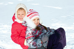 Children on sled Royalty Free Stock Photography