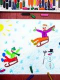 Children sledding down the hill, winter fun Royalty Free Stock Photos